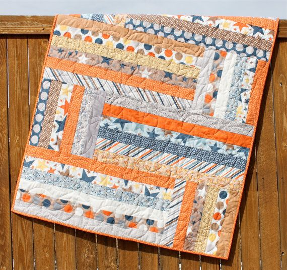 "Super Star Baby Boy Quilt Orange Navy Brown Yellow White Strips Blanket. 39"" x 48"". Made with 2.5"" strips."