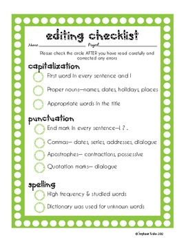middle school essay revision checklist