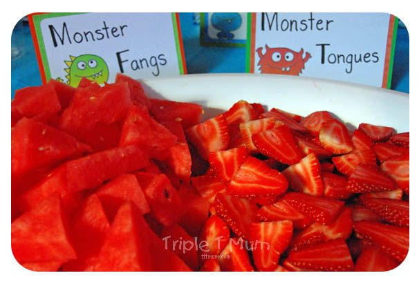 Monster Themed Party Food: Love this monster take on the fruit platter!