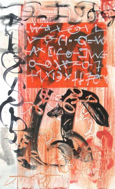 """Scriptograph #22, 2012, watercolor from vellum and mat board, 27"""" x 17"""""""