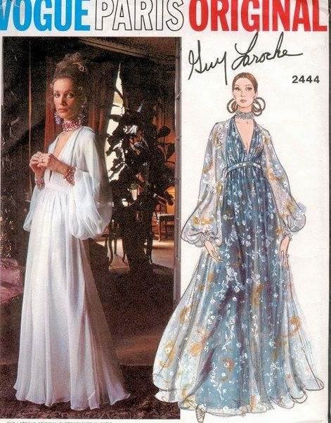 70s Sexy Guy Laroche Evening Gown Pattern Vogue Paris Original 2444 Low Cut High Waist Dress Full Sleeves Bust 32.5 Vintage Sewing Patterns on Etsy, $136.99 AUD