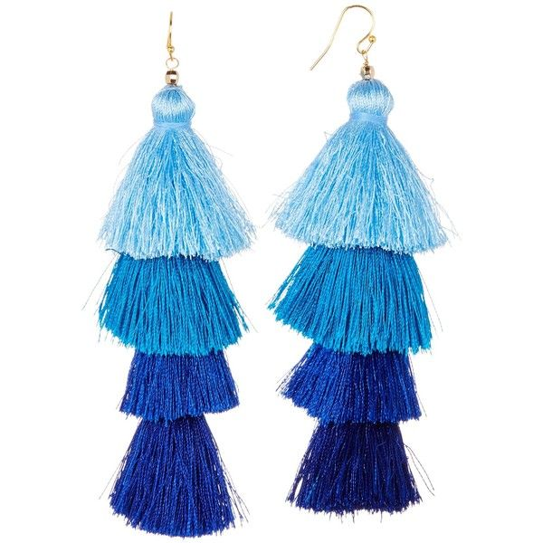 Taolei Ombre Four Tier Tassel Earrings (€24) ❤ liked on Polyvore featuring jewelry, earrings, blue and gold, tassel earrings, yellow gold earrings, gold jewellery, ombre earrings and french hook earrings