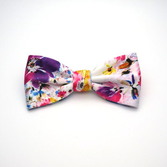Satin Floral Mens Bow tie  White Pink Purple by GloiberryBowtie