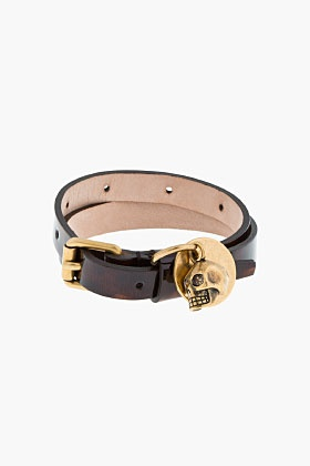 ALEXANDER MCQUEEN Brown Tortoiseshell Patent Leather Double Wrap Skull Bracelet
