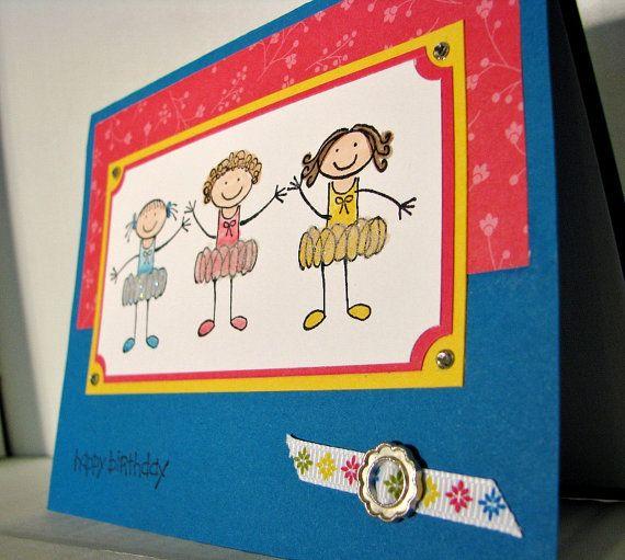 Stampin Up Birthday Card Trio Ballet Girls Youth by LittleLu4U