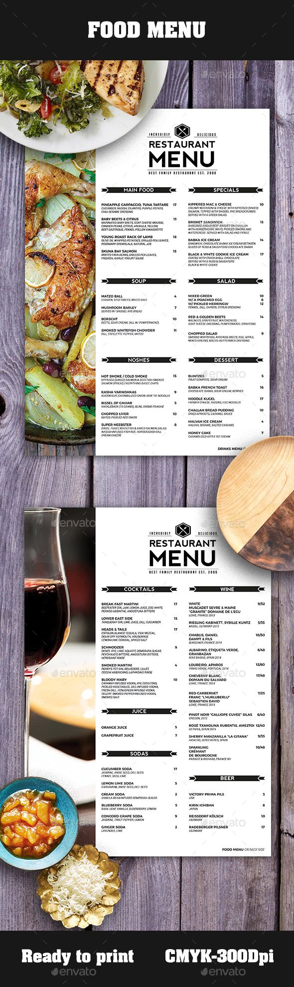 #Food #Menu - Food Menus Print Templates