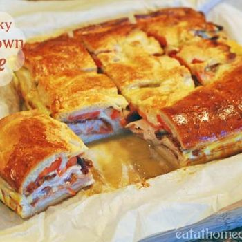 Kentucky Hot Brown Bake     8 oz package refrigerated crescent rolls     1 lb. package smoked turkey lunch meat     8 slices cooked bacon     8 slices Swiss cheese     3 Roma tomatoes, sliced thin     4 eggs, beaten