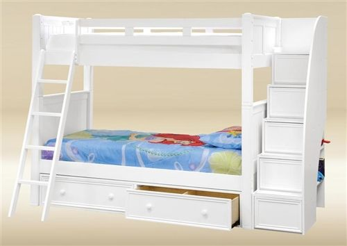 Shopping for high quality Dillon white twin bunk bed with stairway storage for girls room. Find the best quality bunk beds with drawers, trundle for kids bedroom.