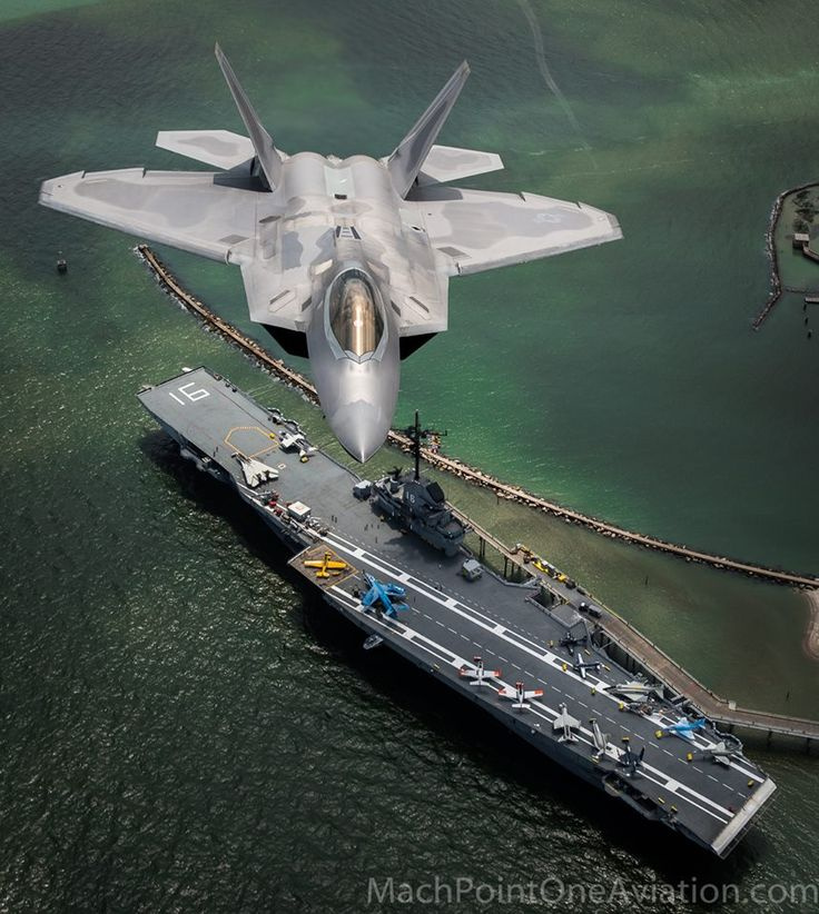 F-22 over USS Lexington.                                                                                                                                                                                 More