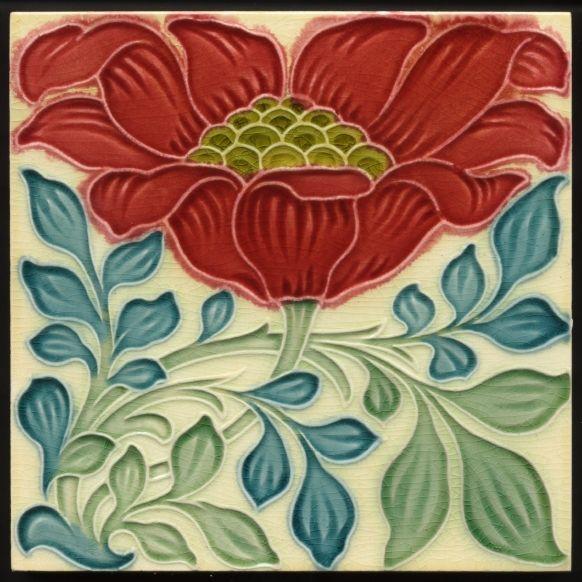 TH2590 Rare Pilkington Lewis F Day Arts & Crafts Floral Majolica Tile c.1898 #ArtsCrafts