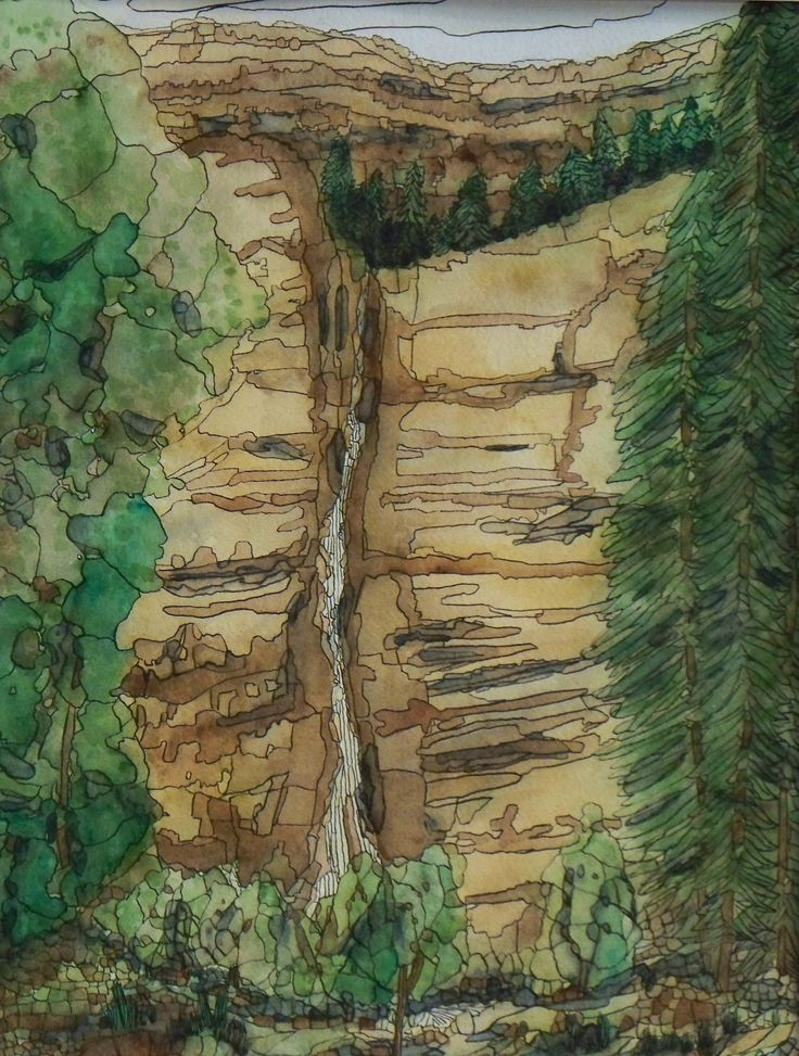 """Cascading Falls""  Watercolor & Ink 16"" x 20"""