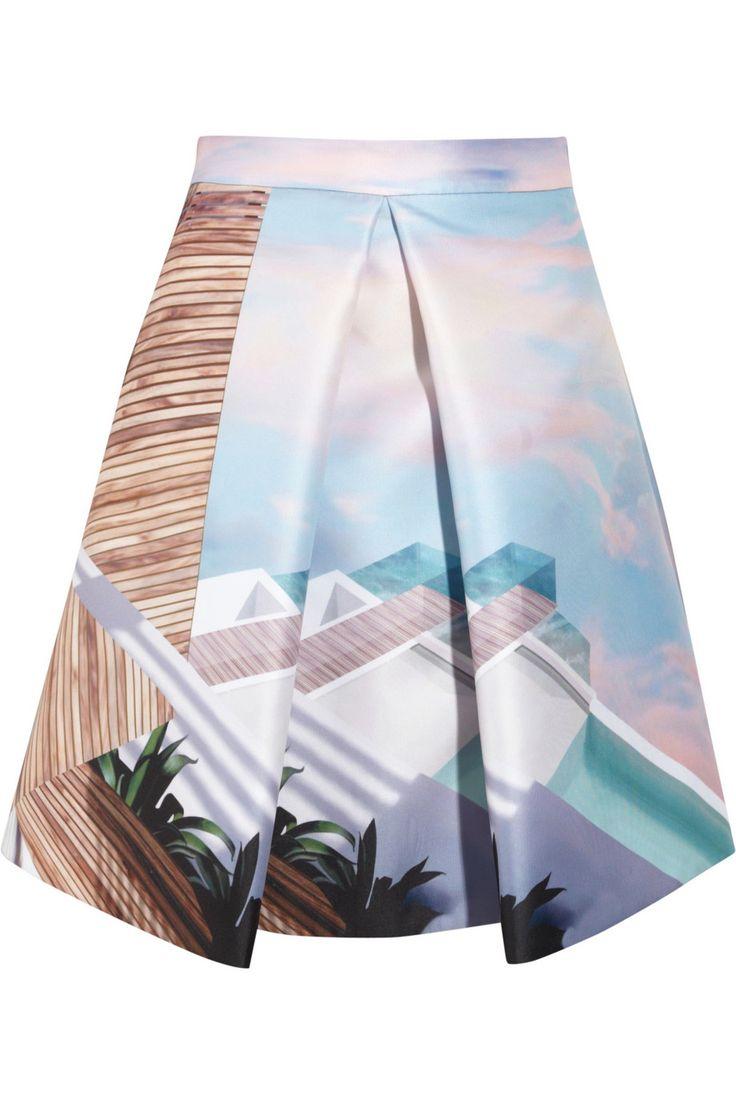 Mary Katrantzou|Kathmandu printed satin-twill skirt|NET-A-PORTER.COM