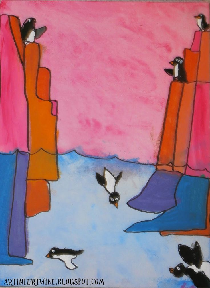 Art Intertwine: Andrew Holder Inspired Penguin Paintings