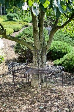 Poze BAG202 - Banca metalica circulara, copac, gradina - Gri