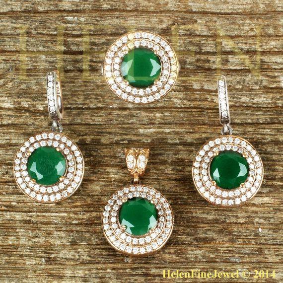 Hurrem Sultan Set Round Shape Emerald Color by helenfinejewels