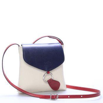 #ItalY Saffie Dámská kožená crossbody kabelka béžovo modro červená