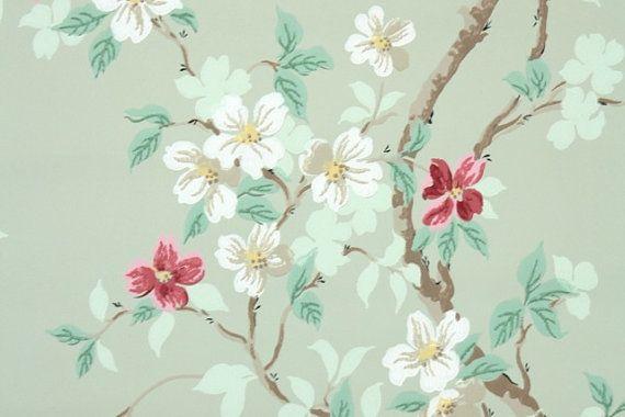 1940+Vintage+Wallpaper+Cornejo+rosado+y+blanco+por+HannahsTreasures,+$14.00