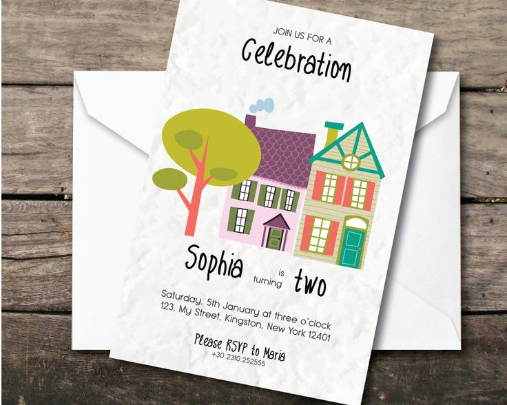 small houses birthday baby party invitation, Printable and printed, second birthday girl, paper and party supplies, thank you card, by BeePrintDesigns on Etsy