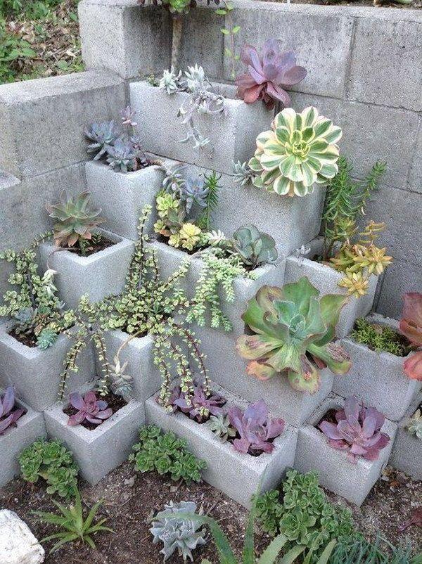 Cinder Block Succulent Garden.
