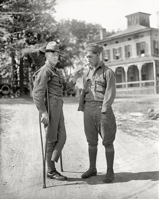 """Back From the Front: 1918. Washington, D.C. """"Walter Reed Hospital scenes."""" Harris & Ewing Collection glass negative."""