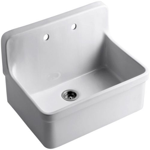 Top Mount Apron Sink White : ... 12700-0-Gilford-Wall-Mount-Top-Mount-Single-Bowl-Kitchen-Sink-White