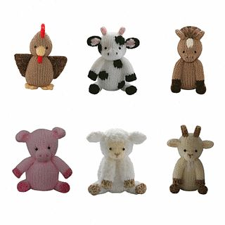 Farmyard - This pattern is available for £3.50 GBP. Includes:- Chicken, Sheep, Cow, Pig, Goat and Horse…  Delightful, adorable, soft and cuddly, the Knitables range of gifts, toys and decorations are fun and easy to knit. The patterns are simple and easy to follow and if you can knit, purl, increase and decrease you can make everything in the Knitables range.