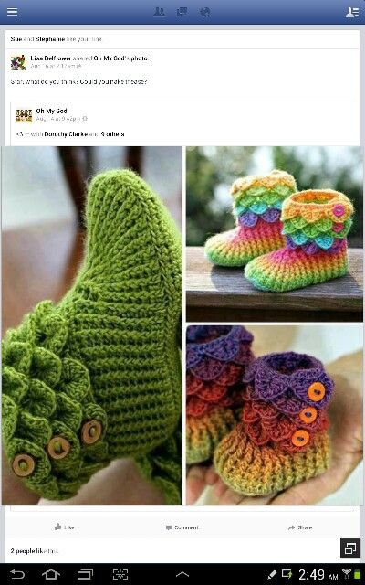 Multi color knited booties