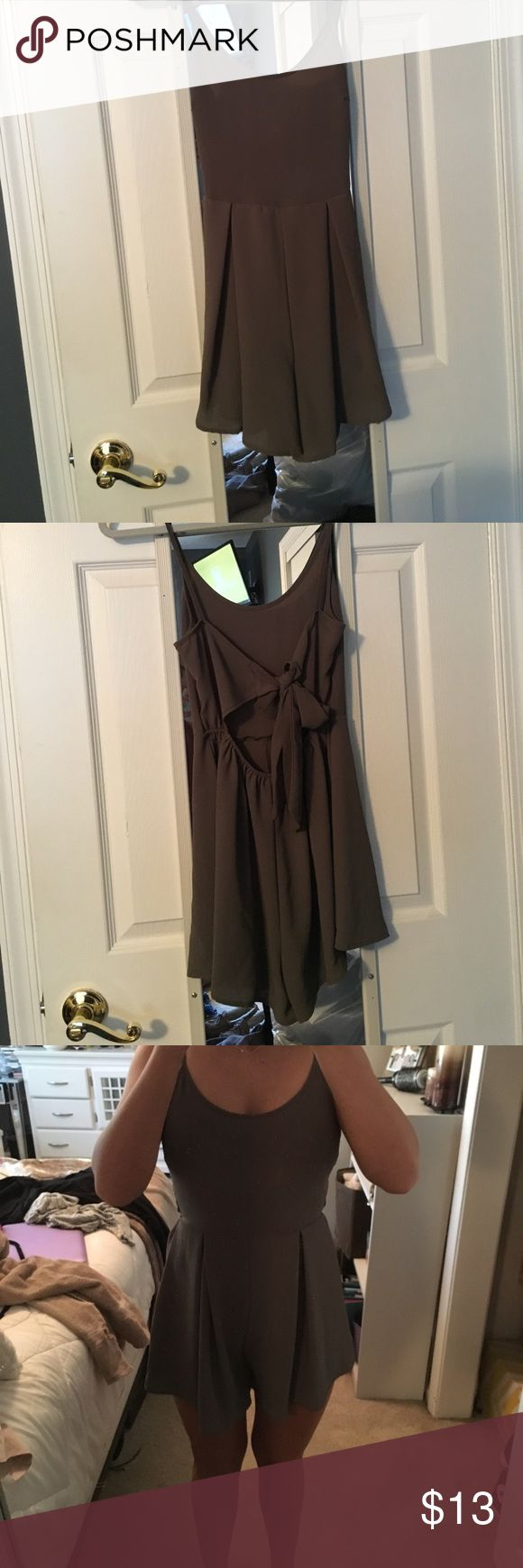 Green open back romper Charlotte Ruse XS army green romper. Open back with tie. Worn once. Charlotte Russe Dresses