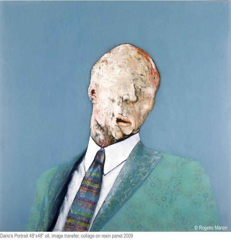 "Rogelio Manzo, Dario's Portrait, oil, image transfer, callage on resin panel, 48""x48"", 2009. (callage)"