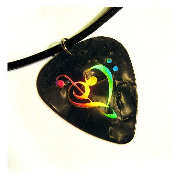 black & gold music heart guitar pick necklace, hot foil stamped ($8.75) ❤ liked on Polyvore