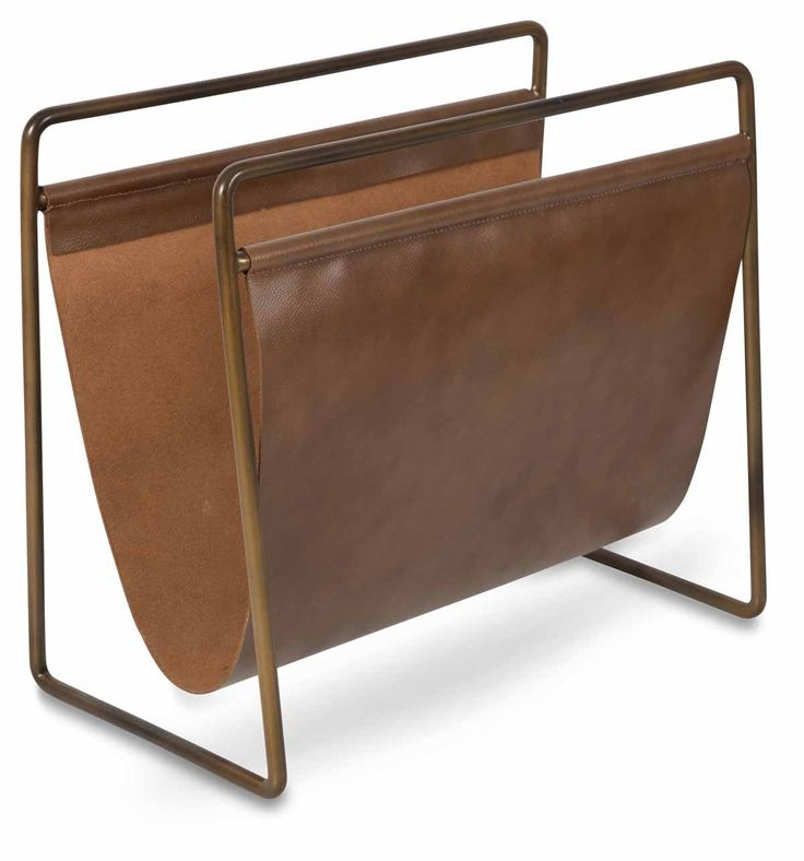 Leather Magazine Holder with Antique Brass Frame