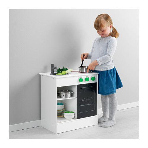 NYBAKAD Play kitchen, white, black 49x50 cm white/black