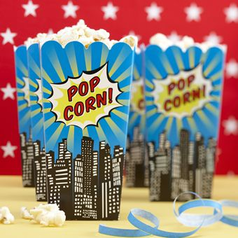 Vivid, bright and colourful blue popcorn boxes with city buildings round the bottom and a splash with the words Pop Corn! on two sides . The boxes are packed flat but open out easily for you to fill with sweet or salty popcorn for your party guests to munch on. Pack of 8 Popcorn Boxes. Each box measures 16cm high.