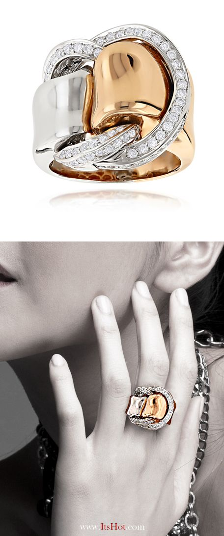 Designer Cocktail Rings: Two Tone Unique Diamond Ring for Women 18K Gold