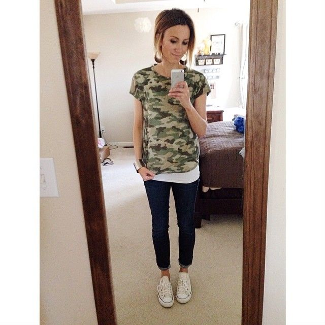 Camo Top, dark skinnies. From One Little Momma