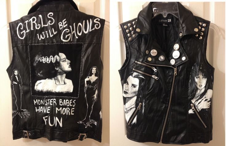 thegothicalice:  Everyone knows the best girls are ghouls. OOAK hand painted and modified vest. Featuring Morticia Addams, The Bride, Vampir...