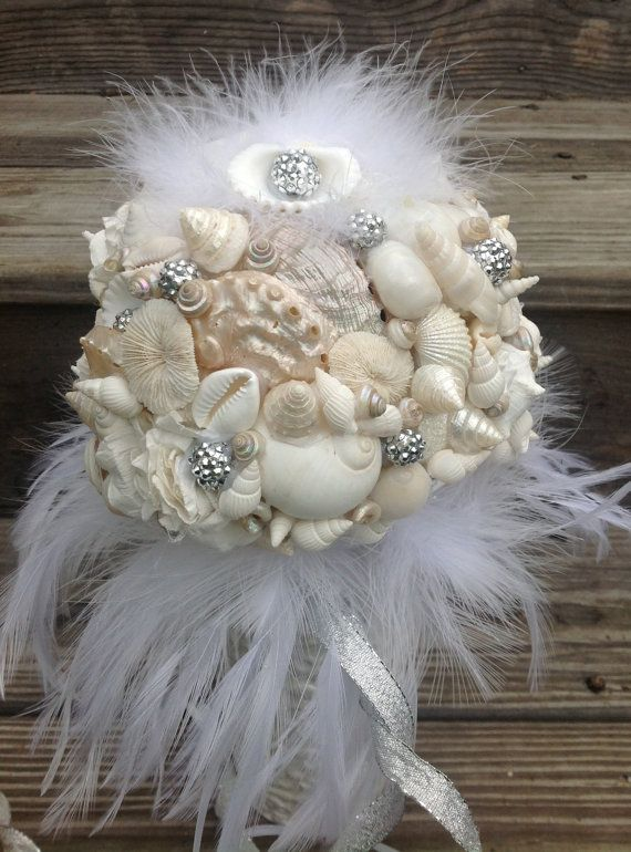 Seashell Bouquet Silver White Nautical Bride By BeachBasketBride Find This Pin And More On Beach Weddings