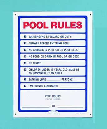 Public Safety Signs For Pools & Spas (R230400 Pool Rules Sign)