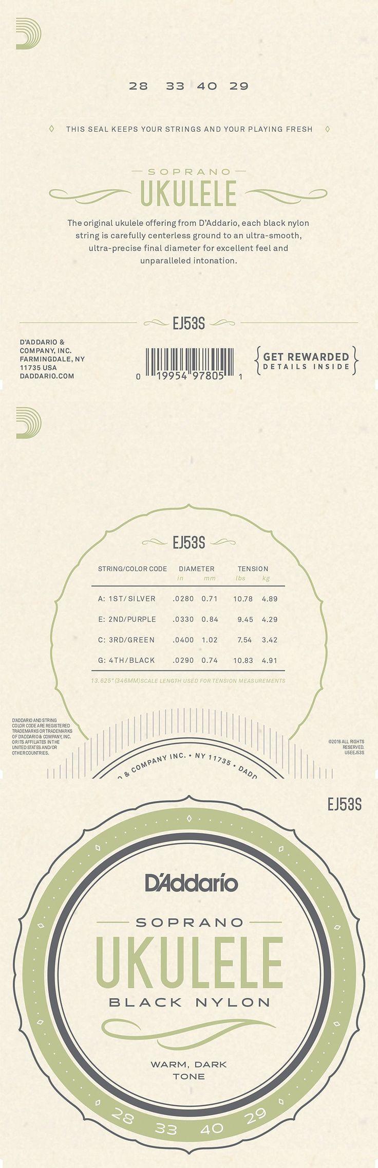 D'Addario Pro-Arte Rectified Nylon Ukulele Strings, Hawaiian Concert/Soprano EJ53S EJ53C