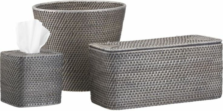 Sedona Grey Bath Accessories  | Crate and Barrel ~ the long basket is great for hiding toilet paper rolls.