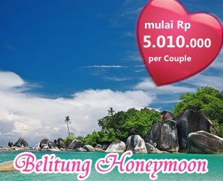 Belitung Honeymoon Package 3D2N. Starting from IDR 5.010.000 per couple. Valid until December 2013. Book at Ezytravel, please contact us: 500833 and (021) 500833 from handphone or visit http://ezytravel.co.id.