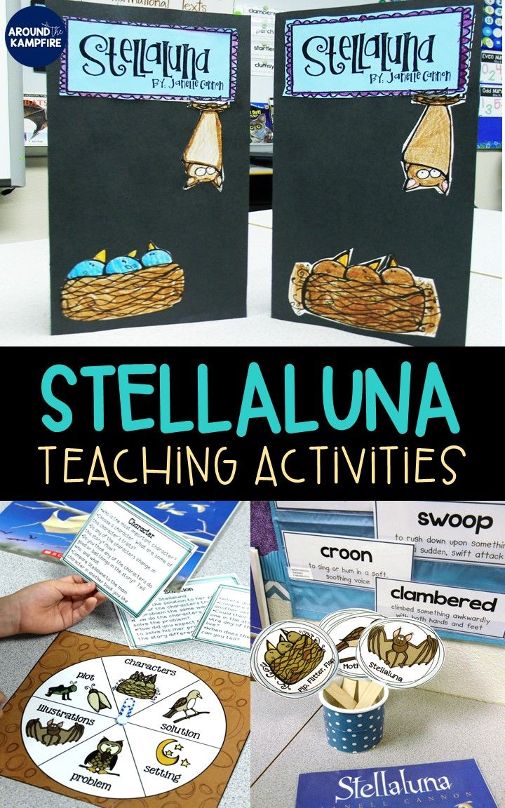 These Stellaluna teaching activities for first and second grade focus on comprehension, characters, point of view, sequencing, word work, and reading fluency. Includes lesson plans, anchor charts, literacy centers and writing activities. Your students will love the culminating foldable lapbook!  Perfectly aligns to RL.3, RL.5, RL.6  #stellaluna #lapbook
