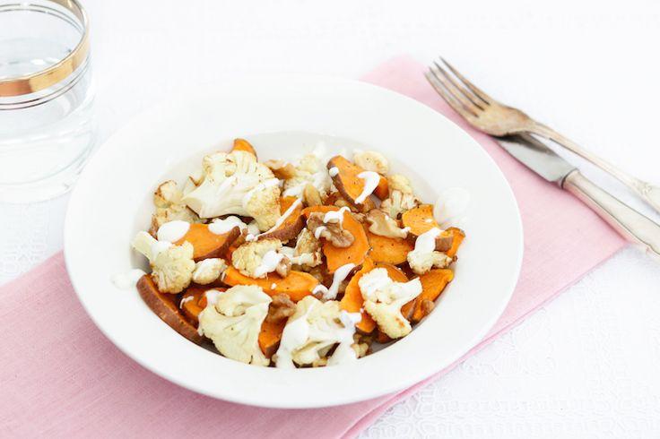 Zoete aardappelsalade met geroosterde bloemkool – 5 OR LESS