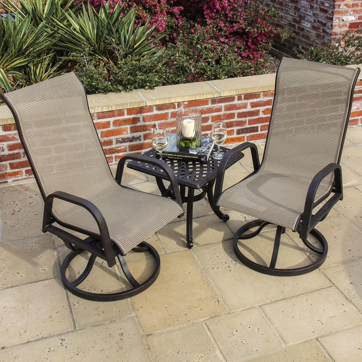 A great idea for a small addition to your patio, this bistro set by Lakeview features quick-drying PVC coated sling that is resistant to fading and mildew. The chairs swivel and rock for soothing relaxation. We have a variety of bistro sets to match your style.