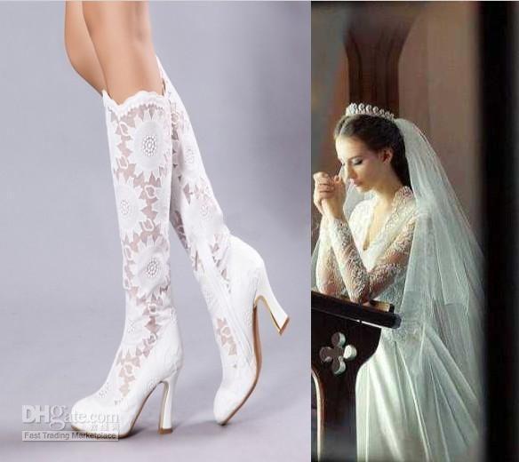 In magazzino nuovo di moda i tacchi alti bianco di pizzo pura bellezza sera prom party dress di donna lady sposa stivali scarpeall'ingrosso