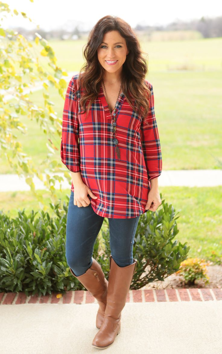 Phoebe Plaid Tunic (available in Red or White)