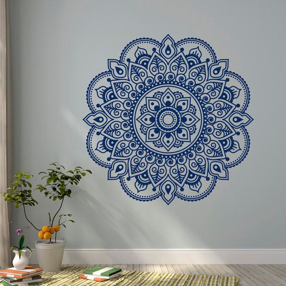 Wall Decal Mandala Ornament Lotus Flower Yoga Indian Decor Meditation Vinyl Wall Decals Murals Bedroom Yoga Studio Boho Wall Art Decor C117