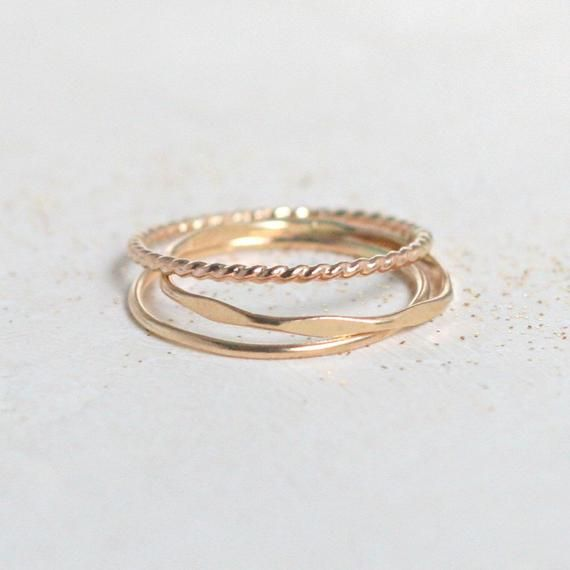 Gold Stacking Rings Set Of Three Boho Gold Filled Slim Stack Etsy In 2020 Gold Ring Stack Sterling Silver Rings Turquoise Stacking Rings