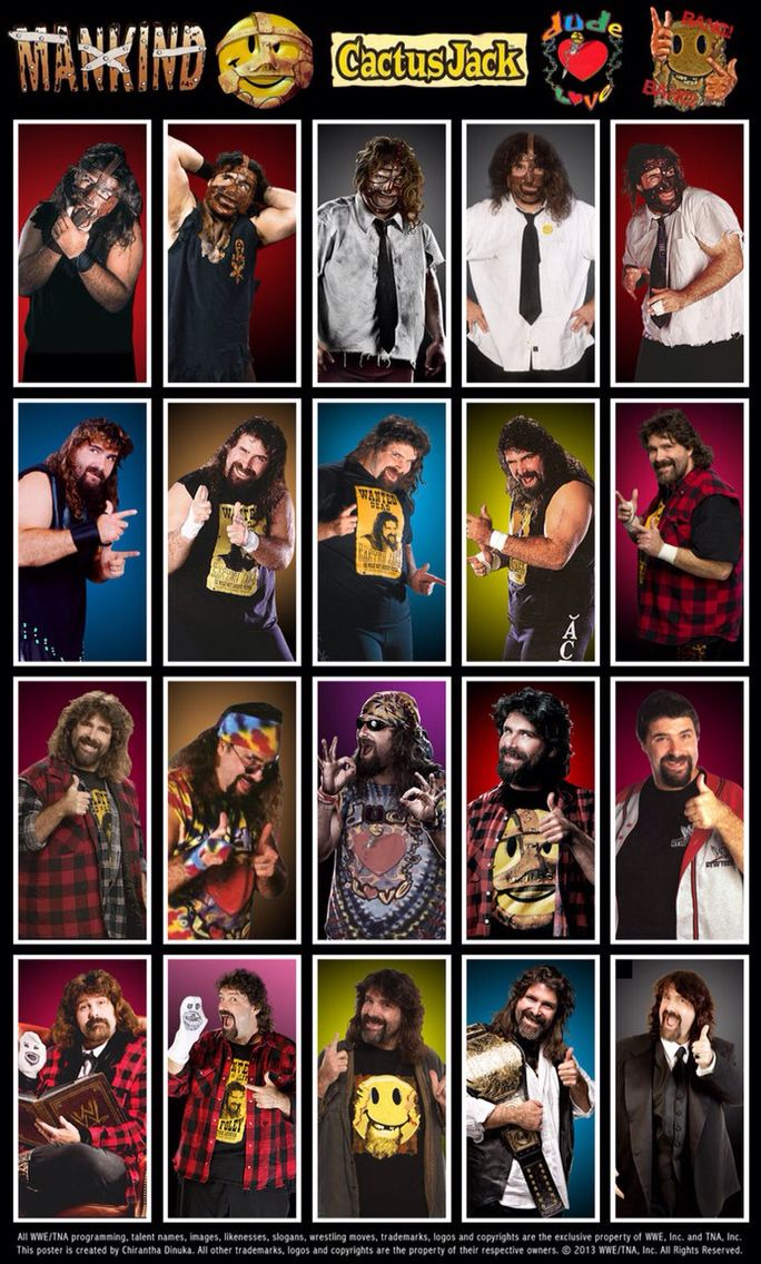"Evolution of ""The Hardcore Legend"" Mick Foley/Mankind/Dude Love/Cactus Jack"