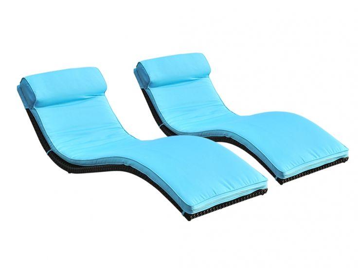 Lot de 2 bains de soleil JANEIRO en résine tressée wengué - assise turquoise prix promo Bain de Soleil Vente Unique 299,99 € TTC au lieu de 398,00 €